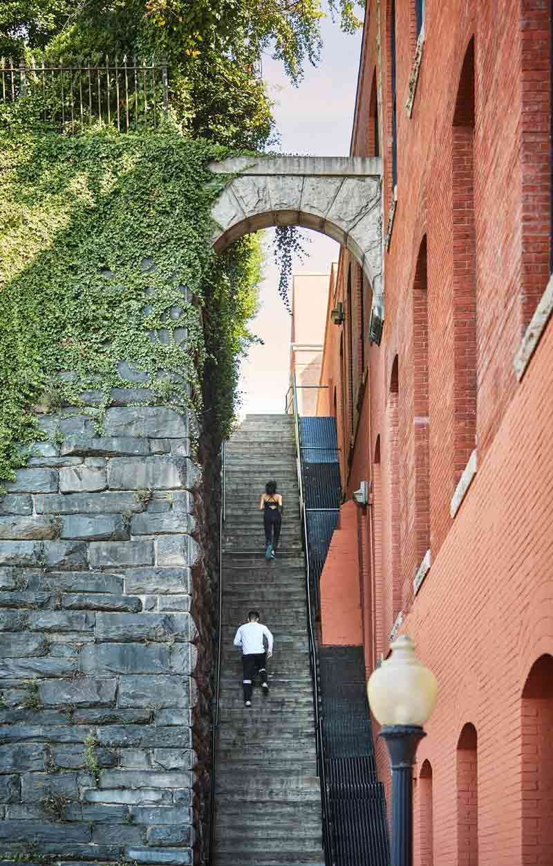 Running up the Exorcist Stairs in Georgetown - Fitness-related breaks for meetings and conventions in Washington, DC