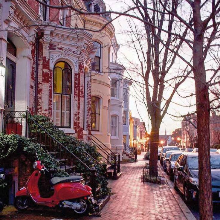 @masseriachic - Winter sunset in Washington, DC's historic Georgetown neighborhood