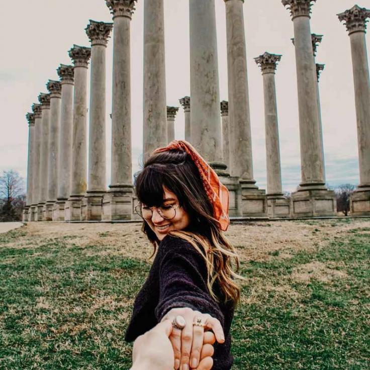 @shananagensss - Visitor in front of United States Capitol Columns at the National Arboretum - Free things to do in Washington, DC
