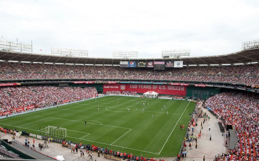 view of soccer stadium during a game