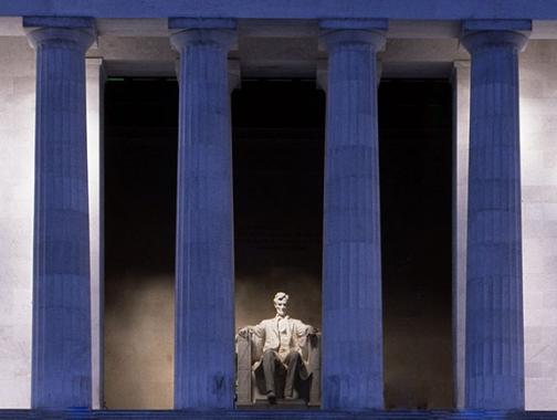 Lincoln Memorial Columns and Statue at night