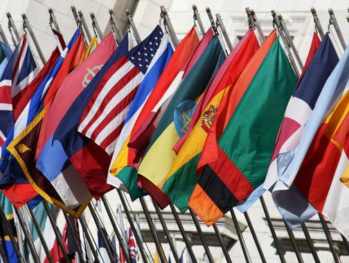View of flags from different countries