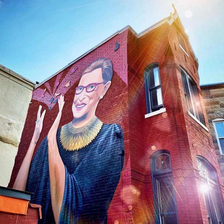 @housethacker - Justice Ruth Bader Ginsberg street mural in Washington, DC's U Street neighborhood