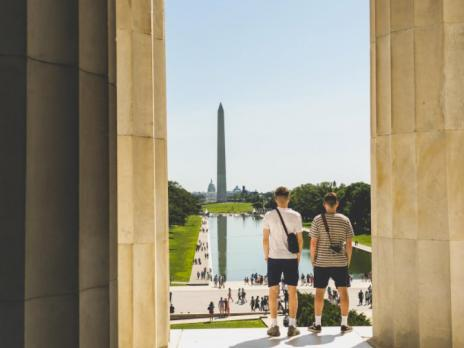 @ ian.a.bentley - Visitors looking out on the National Mall from Lincoln Memorial - Free things to do in Washington, DC